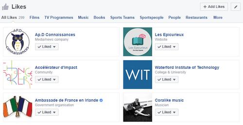 Pages Facebook suivies dans mon fil d'actualité