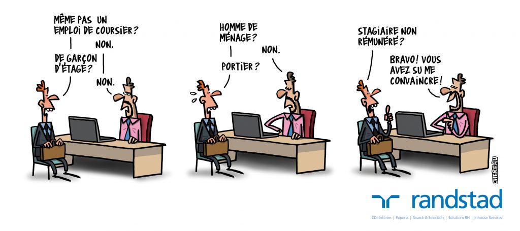 Caricature d'un entretien pour être stagiaire non rémunéré